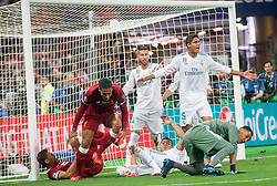 Sergio Ramos, Raphael Varane and Keylor Navas of Real Madrid  during the UEFA Champions League final football match between Liverpool and Real Madrid at the Olympic Stadium in Kiev, Ukraine on May 26, 2018.Photo by Sandi Fiser / Sportida