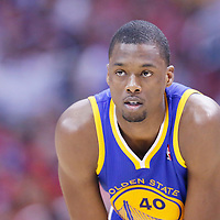 21 April 2014: Golden State Warriors forward Harrison Barnes (40) rests during the Los Angeles Clippers 138-98 victory over the Golden State Warriors, during Game Two of the Western Conference Quarterfinals of the NBA Playoffs, at the Staples Center, Los Angeles, California, USA.