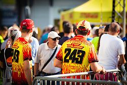Tim Gajser fans with his fan merch before sprejem Tima Gajsreja, on Avgust 27, 2019 in Maribor, Slovenia. Photo by Blaž Weindorfer / Sportida