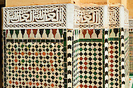 Berber Mocarabe Honeycomb work plaster decorations and Berber design tiles of the Mauseleum of Moulay Ismaïl Ibn Sharif , reigned 1672–1727. A UNESCO World Heritage Site .Meknes, Meknes-Tafilalet, Morocco. .<br /> <br /> Visit our MOROCCO HISTORIC PLAXES PHOTO COLLECTIONS for more   photos  to download or buy as prints https://funkystock.photoshelter.com/gallery-collection/Morocco-Pictures-Photos-and-Images/C0000ds6t1_cvhPo<br /> .<br /> <br /> Visit our ISLAMIC HISTORICAL PLACES PHOTO COLLECTIONS for more photos to download or buy as wall art prints https://funkystock.photoshelter.com/gallery-collection/Islam-Islamic-Historic-Places-Architecture-Pictures-Images-of/C0000n7SGOHt9XWI