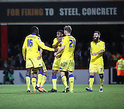 Leeds United attacker Mustapha Carayol celebrating scoring with team mates during the Sky Bet Championship match between Brentford and Leeds United at Griffin Park, London, England on 26 January 2016. Photo by Matthew Redman.