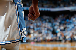 CHAPEL HILL, NC - JANUARY 21: A general view of the side of the shorts with the North Carolina Tar Heels logo worn by Kenny Williams #24 of the North Carolina Tar Heels during a game against the Virginia Tech Hokies on January 21, 2019 at the Dean Smith Center in Chapel Hill, North Carolina. North Carolina won 82-103. (Photo by Peyton Williams/UNC/Getty Images) *** Local Caption *** Kenny Williams
