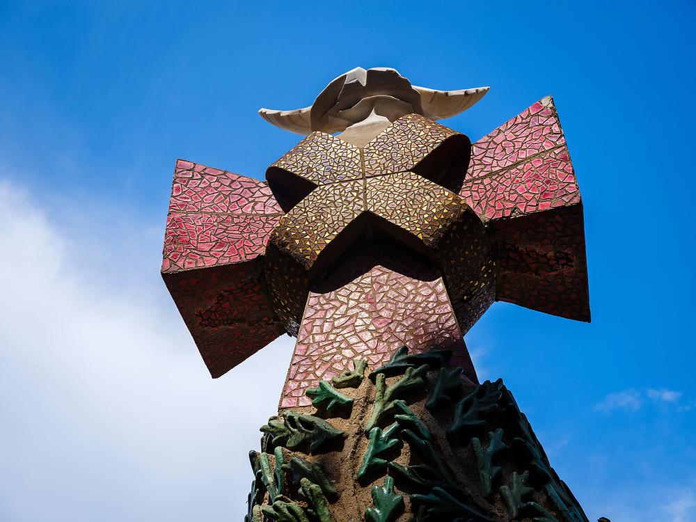 BARCELONA, SPAIN - CIRCA MAY 2018: Outdoor ornament of  La Sagrada Familia, a famous Cathedral in Barcelona designed by Antoni Gaudi.