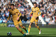 Dele Alli of Tottenham Hotspur ® looks on as Christian Eriksen of Tottenham Hotspur breaks away. Premier league match, West Bromwich Albion v Tottenham Hotspur at the Hawthorns stadium in West Bromwich, Midlands on Saturday 15th October 2016. pic by Andrew Orchard, Andrew Orchard sports photography.