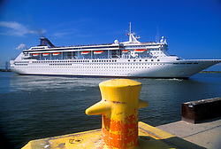 Departing cruise liner from the dock area