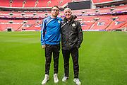 Sam Wedgebury and physio Ian Weston, Ian Forest Green Rovers Football Club Familiarisation visit to Wembley Stadium, London, England on 10 May 2016. Photo by Shane Healey.