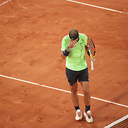 PARIS, FRANCE June 11. Rafael Nadal of Spain reacts after hitting a shot into the net during the third set tie break against Novak Djokovic of Serbia on Court Philippe-Chatrier during the semi finals of the singles competition at the 2021 French Open Tennis Tournament at Roland Garros on June 11th 2021 in Paris, France. (Photo by Tim Clayton/Corbis via Getty Images)