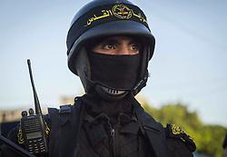 October 19, 2016 - Gaza City, The Gaza Strip, Palestine - Masked Islamic Jihad militant during a military parade marking the Islamic Jihad 29th foundation anniversary in Gaza city. (Credit Image: © Mahmoud Issa/Quds Net News via ZUMA Wire)
