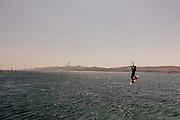 Greece, Paros, kite surf in front of the Antiparos Island