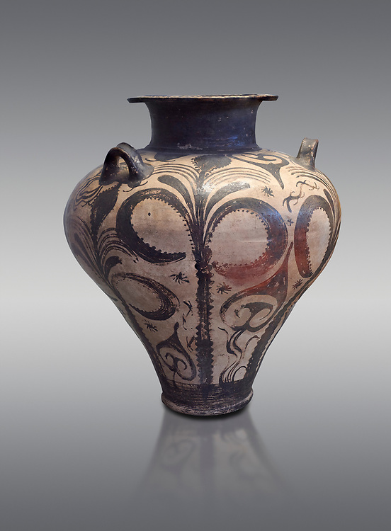 Three handled Palace Style Mycenaean amphora with palm tree floral motifs, Mycenaean cemetery, Argive Deiras, 15 cnt BC, National Archaeological Museum Athens. Cat no 7107.  Grey Background<br /> <br /> This Mycenaean vase is distinguished by the high quality of clay and paint as well as the naturalistic rendition of the palm tree decorations .<br /> <br /> If you prefer to buy from our ALAMY PHOTO LIBRARY  Collection visit : https://www.alamy.com/portfolio/paul-williams-funkystock/mycenaean-art-artefacts.html . Type -   Athens    - into the LOWER SEARCH WITHIN GALLERY box. Refine search by adding background colour, place, museum etc<br /> <br /> Visit our MYCENAEN ART PHOTO COLLECTIONS for more photos to download  as wall art prints https://funkystock.photoshelter.com/gallery-collection/Pictures-Images-of-Ancient-Mycenaean-Art-Artefacts-Archaeology-Sites/C0000xRC5WLQcbhQ
