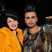 Oriana Curls and Mr Fabulous - Jay Kamiraz attend BBC1 All Together Now Series 1 Cast Members, fright night at The London Bridge Experience & London Tombs on 28 October 2018, London, UK.