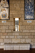 Israel, Lower Galilee, Nazareth. Interior of the Basilica of the Annunciation. Display of religious art work from around the world