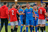 Football - 2021 / 2022 Emirates FA Cup - First Round Qualifying - Bootle vs. FC United of Manchester - Berry Street Garage Stadium - Saturday 4th September 2021<br /> <br /> Players shake hands after the final whistle, at the Berry Street Garage Stadium.<br /> <br /> COLORSPORT/Alan Martin