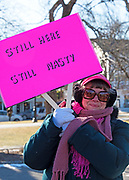 Bar Harbor, Maine, USA. 19 January, 2019. A crowd gathers on the Village Green for the Women's March Bar Harbor, a sister march of the national Women's March.
