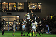 James King  of the Ospreys © jumps for a line out with Toby Faletau of the Dragons (8). Rabodirect Pro12 rugby match, Newport Gwent Dragons v Ospreys at Rodney Parade in Newport, South Wales on New Years Eve, Monday 31st Dec 2012. pic by Andrew Orchard, Andrew Orchard sports photography,
