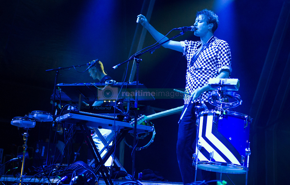 Vincent Neff of Django Django performs on stage on day 1 of Standon Calling Festival on July 27, 2018 in Standon, England. Picture date: Friday 27 July, 2018. Photo credit: Katja Ogrin/ EMPICS Entertainment.