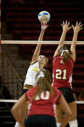 19 November 2005: Darci Vohs uses fingertip control to stike a ball at Savannah Knowles. The Wichita State Shockers electrified Redbird Arena in Normal Illinois and unnested the Redbirds from their home in 3 straight games.