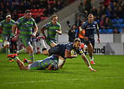 Sale Sharks wing Byron McGuigan stretches for the line early in the first half but the try was ruled out during the The Aviva Premiership Round 2 match Sale Sharks -V- Newcastle Falcons at The AJ Bell Stadium, Salford, Greater Manchester, England on Friday, September 8, 2017. (Steve Flynn/Image of Sport)
