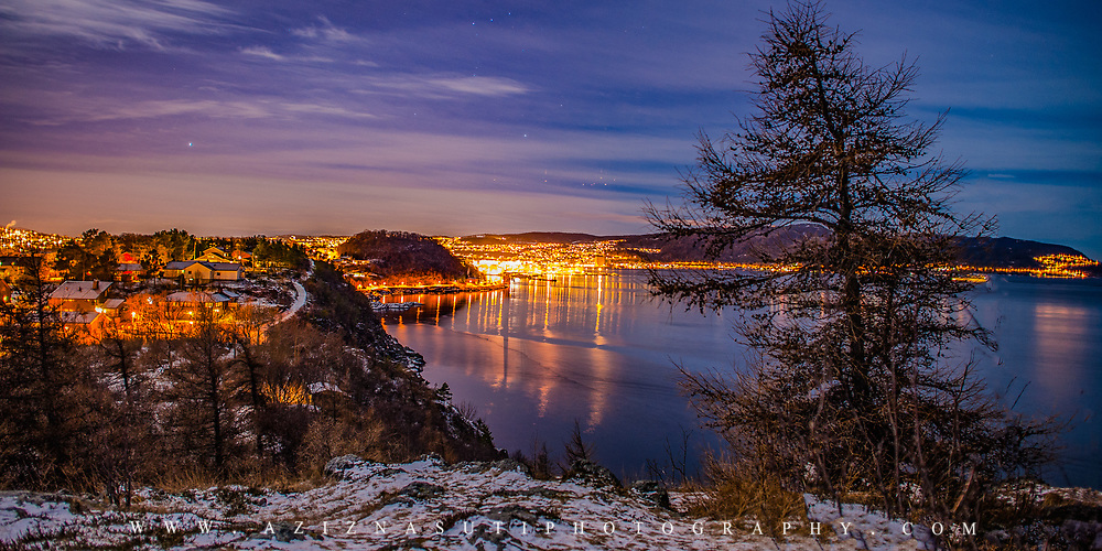 website: www.aziznasutiphotography.com                                        This picture has been taken from Ladestien towards the Trondheimsfjord and Trondheim