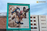 Mural with Bill Walton in downtown Tucson, Arizona, USA
