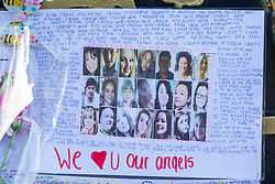 © Licensed to London News Pictures. 22/05/2018. Manchester UK. Picture shows messages for the victims in St Ann's Square in Manchester this morning which is marking the first anniversary of the Manchester Arena bombing. 22 people died when Salman Abedi detonated a bomb at an Ariana Grande concert. Photo credit: Andrew McCaren/LNP