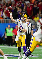 LSU Tigers quarterback Joe Burrow (9) passes during the first half against Oklahoma Sooners in the 2019 College Football Playoff Semifinal at the Chick-fil-A Peach Bowl on Saturday, Dec. 28, in Atlanta. (Vasha Hunt via Abell Images for the Chick-fil-A Peach Bowl)