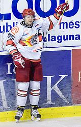 Tomo Hafner of Acroni Jesenice celebrates at 38th Round of EBEL league  ice hockey match between HDD Tilia Olimpija Ljubljana and HK Acroni Jesenice, on January 1, 2010, in Arena Tivoli, Ljubljana, Slovenia. (Photo by Vid Ponikvar / Sportida)