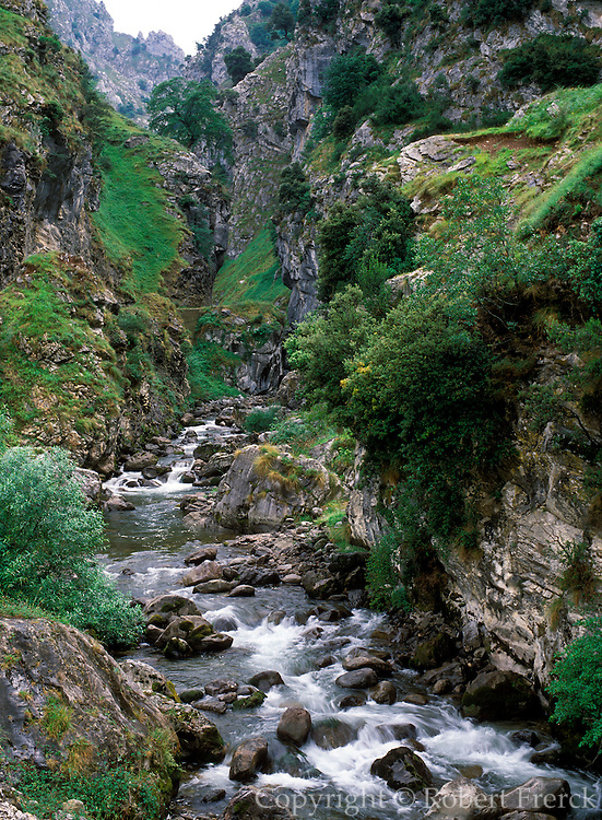 SPAIN, NORTH COAST, ASTURIAS Picos de Europe National Park and the Gorge of the Rio Cares with a popular hiking trail near Cangas de Onis