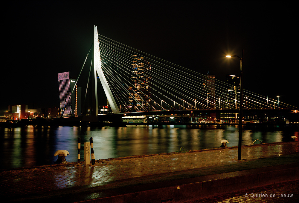 The Erasmus bridge at night, Rotterdam city.  © Holland Ektar