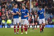 Portsmouth Forward, Oliver Hawkins (9) and Portsmouth Defender, Matt Clarke (5) celebrate at full time during the EFL Sky Bet League 1 match between Portsmouth and Milton Keynes Dons at Fratton Park, Portsmouth, England on 14 October 2017. Photo by Adam Rivers.