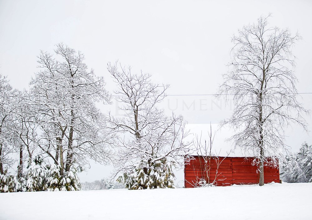 Snow covered the Triangle on Feb. 26, which made for picturesque scenes, like this snow-covered barn, which is Located on the Ferrell Farm, Cary.