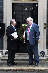Downing Street, London, December 13th 2016. International Trade Secretary Liam Fox and Chancellor of the Duchy of Lancaster Patrick McLoughlin leave the weekly meeting of the cabinet at Downing Street, London.