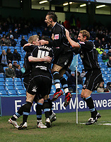 Photo: Paul Thomas.<br />Manchester City v Scunthorpe United. The FA Cup.<br />07/01/2006.<br />Scunthorpe celebrate Andy Keogh's goal.