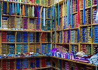 CHEFCHAOUEN, MOROCCO - CIRCA APRIL 2017:  Shop selling silk thread spools in Chefcahouen