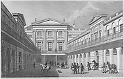 South East view London Horse & Carriage Repository, Gray's Inn  Road, engraving 'Metropolitan Improvements, or London in the Nineteenth Century' London, England, UK 1828 , drawn by Thomas H Shepherd