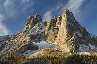 Liberty Bell Mountain, Early Winters Spires, and gloden autumn Larches. Seen from Washington Pass Overlook. North Cascades, Washington