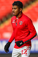 Charlton Athletic defender Ian Maatsen (22) warms up  prior to the EFL Sky Bet League 1 match between Charlton Athletic and Swindon Town at The Valley, London, England on 23 January 2021.