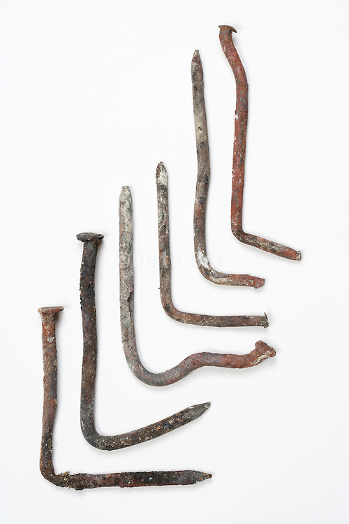 various bent nails
