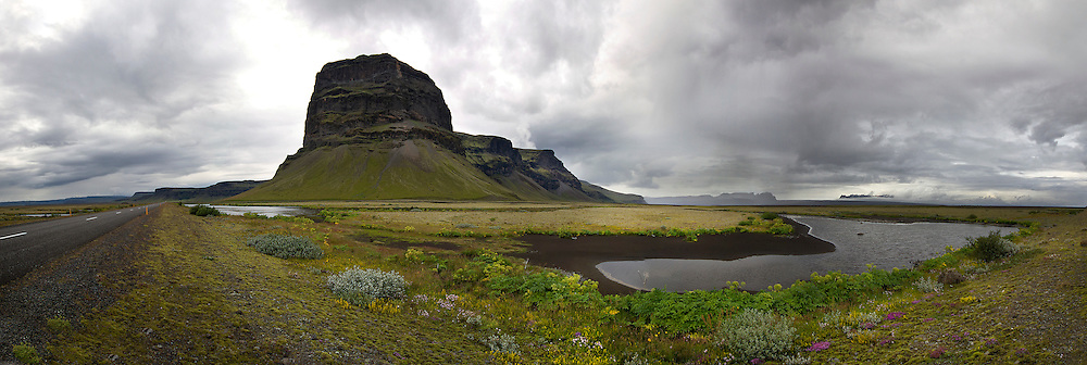 Panoramic photo of one of the most active volcanoes in Iceland.