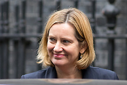 © Licensed to London News Pictures. 17/10/2017. London, UK. Home Secretary Amber Rudd leaving No 10 Downing Street after attending a Cabinet meeting this morning. Photo credit : Tom Nicholson/LNP