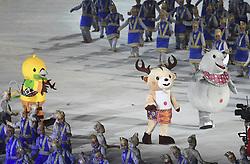 JAKARTA, Aug. 18, 2018  Mascots of the 18th Asian Games enter the Gelora Bung Karno (GBK) Main Stadium during the opening ceremony of the 18th Asian Games in Jakarta, Indonesia, Aug. 18, 2018. (Credit Image: © Pan Yulong/Xinhua via ZUMA Wire)