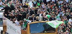 Hibernian Scottish Cup Open Top Bus Edinburgh 14 May 2016; The Hibs bus makes its way down Leith Walk during the open top bus parade in Edinburgh after winning the Scottish Cup.<br /> <br /> (c) Chris McCluskie | Edinburgh Elite media