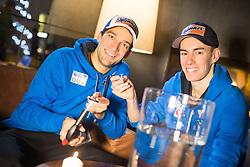 30.12.2014, Hotel for Friends, Mösern, AUT, FIS Ski Sprung Weltcup, 63. Vierschanzentournee, OeSV Bleigiessen, im Bild Andreas Kofler (AUT) und Stefan Kraft (AUT) // Andreas Kofler of Austria and Stefan Kraft of Austria during Happy New Year lead Pouring of Austrian Team of the 63rd Four Hills Tournament of FIS Ski Jumping World Cup at the for Friends Hotel, Mösern, Austria on 2014/12/30. EXPA Pictures © 2014, PhotoCredit: EXPA/ JFK