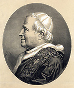 Pius IX (Giovanni Maria Mastai Ferretti - 1792-1878) Pope from 1846. Engraved tinted portrait published at time of his death