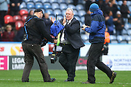 Leeds United Manager Steve Evans © applauds the fans after the game. Skybet football league Championship match, Huddersfield Town v Leeds United at the John Smith's Stadium in Huddersfield, Yorks on Saturday 7th November 2015.<br /> pic by Chris Stading, Andrew Orchard sports photography.
