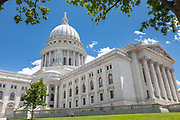 The Wisconsin State House Building on Capital Square in Madison, Wisconsin. Construction of the present capitol, the third in Madison, began in late 1906 and was completed in 1917 at a cost of $7.25 million.