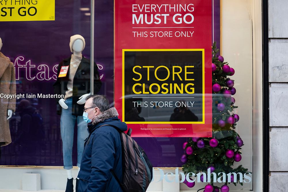 Glasgow, Scotland, UK. 11 December 2020. Covid-19 lockdown level 4 restrictions are lifted in Glasgow. Non essential businesses and restaurants can reopen from today. Pictured ; Debenhams department store on Argyle Street has clearance sale before it closes down after going into administration.  Iain Masterton/Alamy Live News