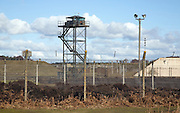 Perimeter security fence at former USAF Woodbridge, Suffolk, England