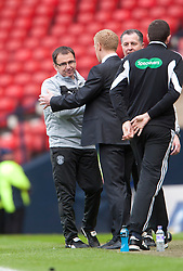 Hibernian's manager Pat Fenlon with Falkirk manager Gary Holt at the end..Hibernian 4 v 3 Falkirk, William Hill Scottish Cup Semi Final, Hampden Park..©Michael Schofield...