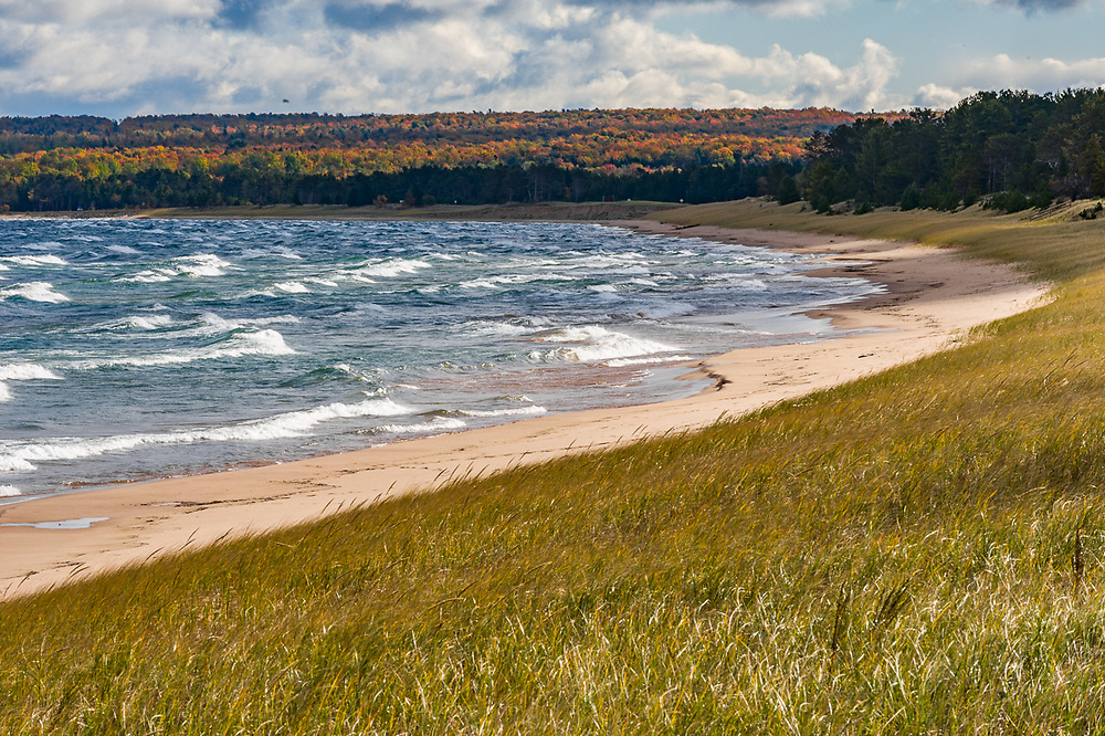 Clouds and forested shoreline, October, Lake Superior, Upper Peninsula, Michigan,  USA